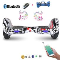 Cool And Fun - Cool&FUN Hoverboard Bluetooth,Scooter électrique Auto-équilibrage,gyropode connecté 10 pouces Noir carbone red-crane design