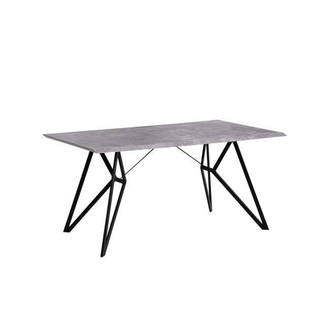 BELIANI Table de salle à manger noire et béton BUSCOT - marron clair