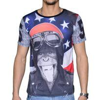 Celebrytees - En Solde - Celebry Tees - T Shirt Manches Courtes - Homme - Monkey Biker - Noir