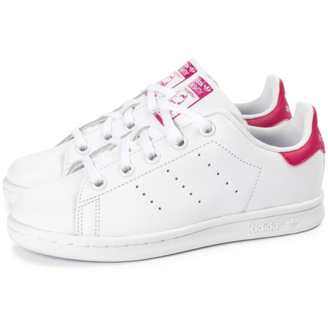 Adidas Stan Smith Enfant Blanche Et Rose pas cher Achat