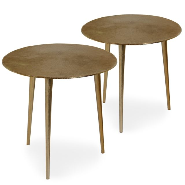 MENZZO Lot de 2 tables d'appoint Erwan Bronze