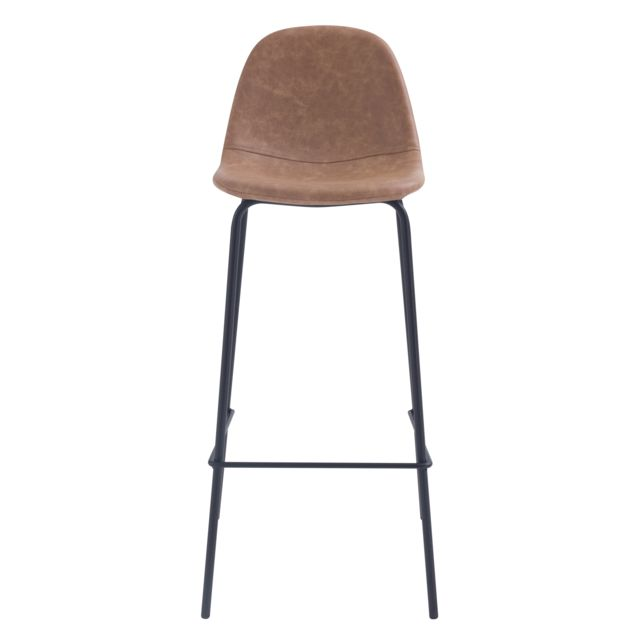 Chaise de bar Henrik marron clair 75 cm lot de 2