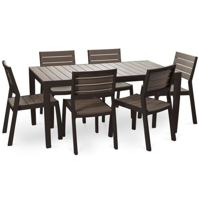 Keter - Ensemble Harmony table 160 cm + 6 chaises - Marron - pas ...
