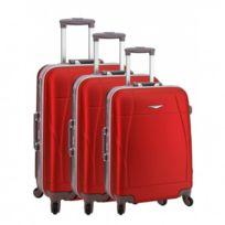 Madison - Madisson Bagage Lot de 3 valises trolley - 4 Roues - Rigide - Fermeture Clips - Rouge