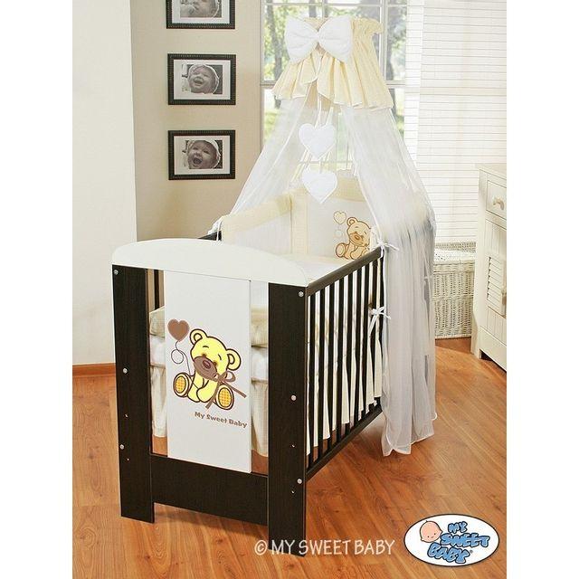 Lit et Parure de lit bébé teddy bear blanc cassé ciel de lit coton 120 60
