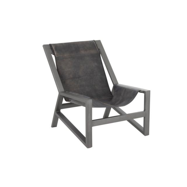 HELLIN Fauteuil relax cuir et métal - Zen