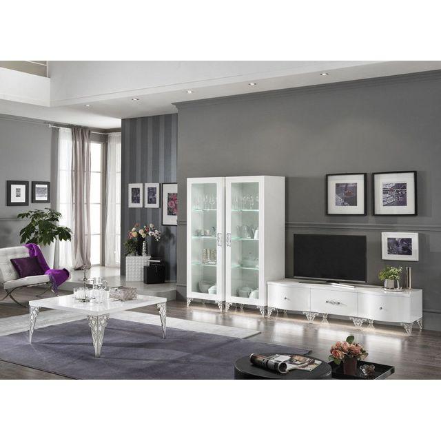 Ensemble salon design complet avec vitrines et table basse carrée coloris  blanc laqué