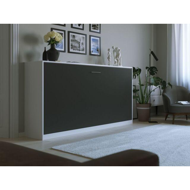 Smartbett Lit escamotable Basic 90x200 horizontal blanc/anthracite avec ressorts à gaz Armoire lit