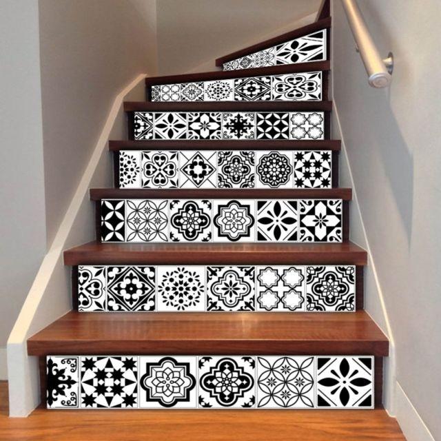 Sticker 6 Pcs Diy Céramique Creative Carrelage Escaliers Décoration de La  Maison, Taille: 18 100 cm