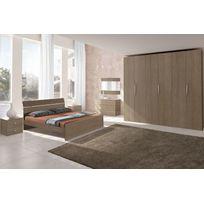 Mennza - Chambre adulte complète Ginger chêne gris et blanc C30150G