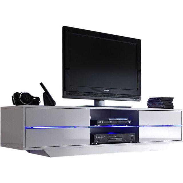 Meuble Tv En Verre Design.Meuble Tv Design Blanc Avec 4 Tiroirs En Mdf Laque Et Verre Trempe Securit 160 Cm Avec Eclairage Led Inclus C Maimi