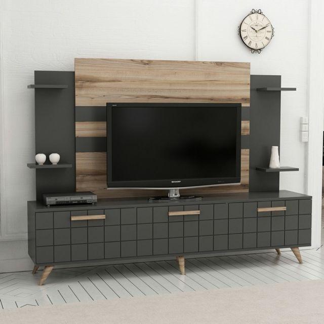 Meuble Tv Grace Moderne - avec Portes, Étagères - pour Salon - Noyer,  Anthracite en Bois, 180 x 35 x 136 cm