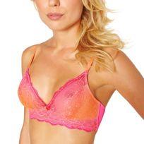 Pomm'POIRE - soutien-gorge triangle sans armatures dos brassière rose/orange Sunrise