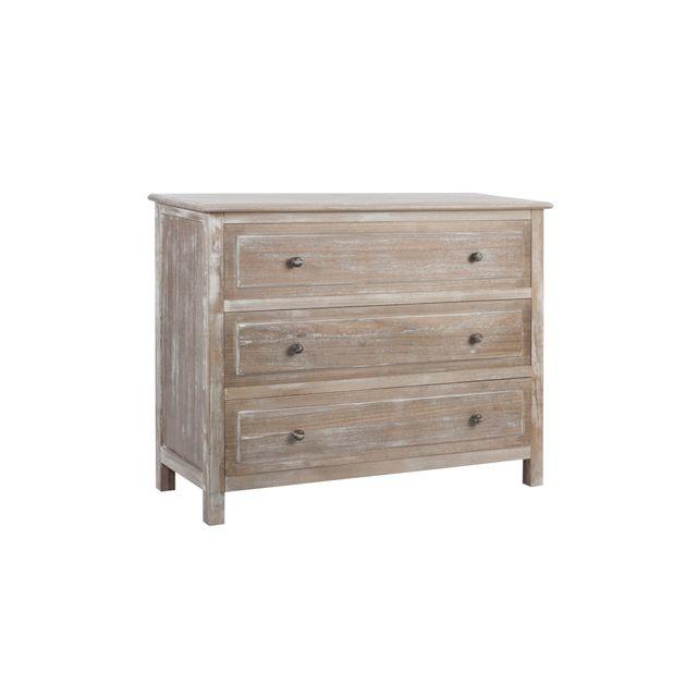 Commode 3 tiroirs bois coloris naturel