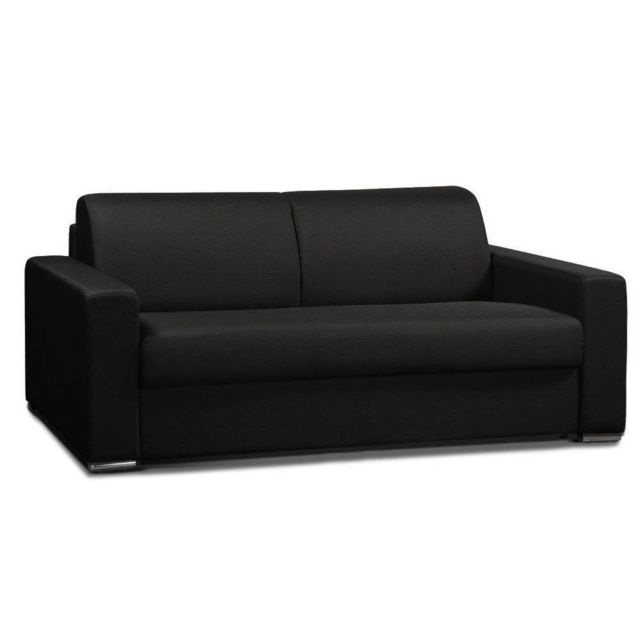 inside 75 canap convertible 2 allure matelas m mory 20cm lattes 120cm cuir vachette recycl. Black Bedroom Furniture Sets. Home Design Ideas