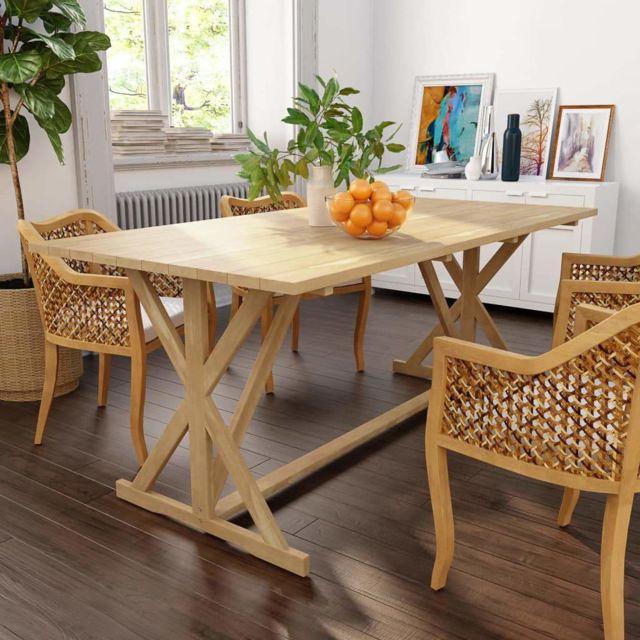 Table de salon salle à manger design Bois de teck massif 180 x 90 x 75 cm  0902192