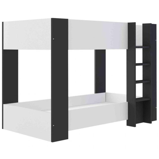 TERRE DE NUIT Lit superposé enfant 90x190 en bois blanc et noir - LT9014