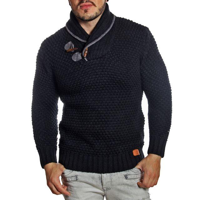 bd2da723b72c Young And Rich - Pull homme noir col châle en laine tressée - pas cher Achat    Vente Pull homme - RueDuCommerce