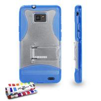 "Muzzano - Coque Semi-Rigide Ultra-Slim avec pieds avec pied ""le S"" Hybrid Bleu pour Samsung Galaxy S2"