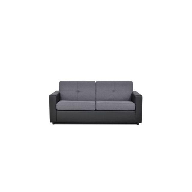 Sans Marque Steven Canape 3 Places Convertible En Simili Noir - L 185 X P 95 X H 81 Cm