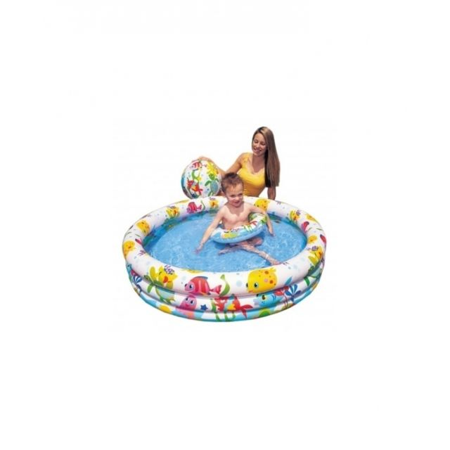 Intex Piscine Gonflable Ronde Poisson L 132 X H 28 Cm Vinyle