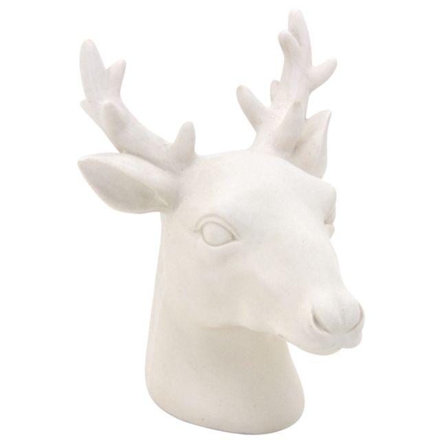AUBRY GASPARD Tête de cerf en résine blanche