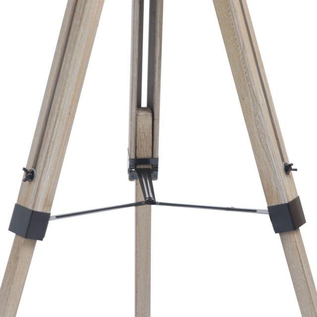 Idmarket - Lampadaire trepied bois réglable noir 65cm x 144cm x 55cm