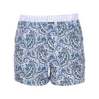 Arthur - Caleçon Club en coton blanc à motifs cachemire bleus et verts