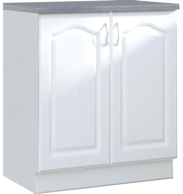 Comforium Meuble bas de cuisine style contemporain 80 cm avec 2 portes coloris blanc