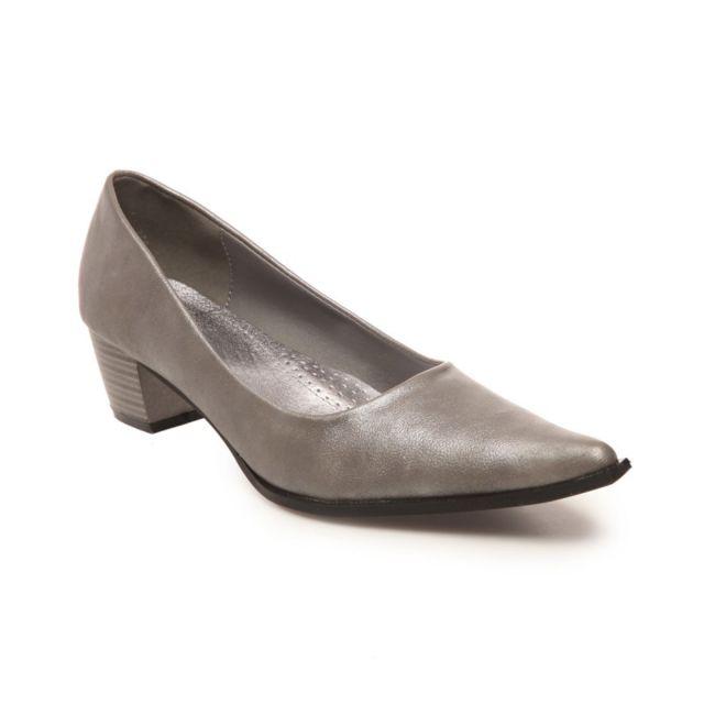 ebabcfa1a6a6 Lamodeuse - Escarpins pointus talon carré gris argenté - pas cher Achat    Vente Escarpins - RueDuCommerce