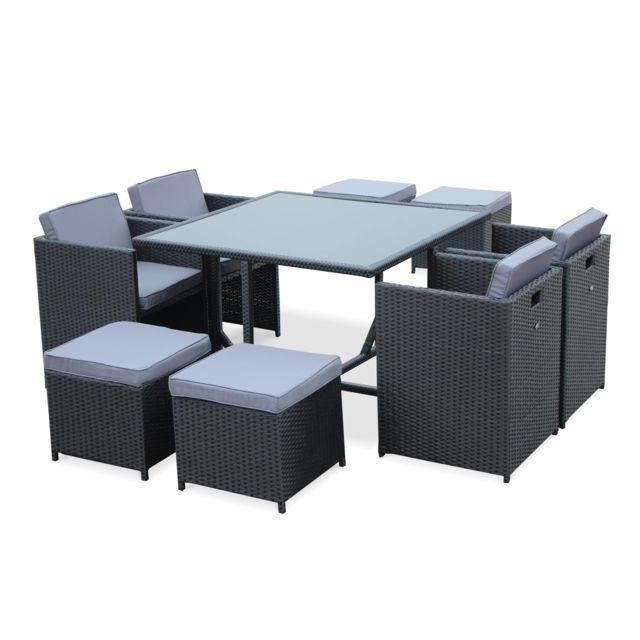 ALICE S GARDEN Salon de jardin Vasto Noir table en résine tressée 4 à 8  places, d732d99e1b03