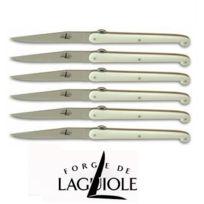 Forge De Laguiole - Coffret de 6 couteaux de table par Olivier Gagnere plein manche en acrylique minéral blanc-Gamme Design par