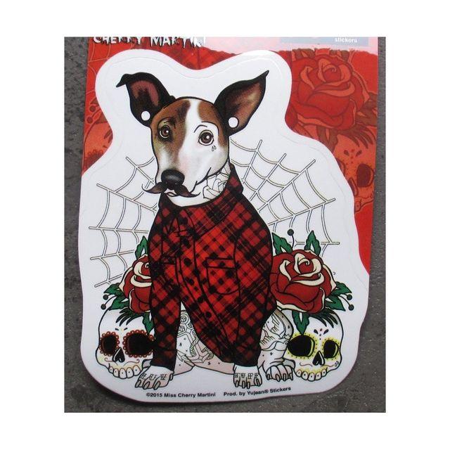 Universel Sticker chien en habit ecossais toile autocollant rockab