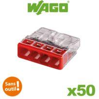 Wago - Flacon de 50 mini bornes de connexion automatique 4 entrées S2273