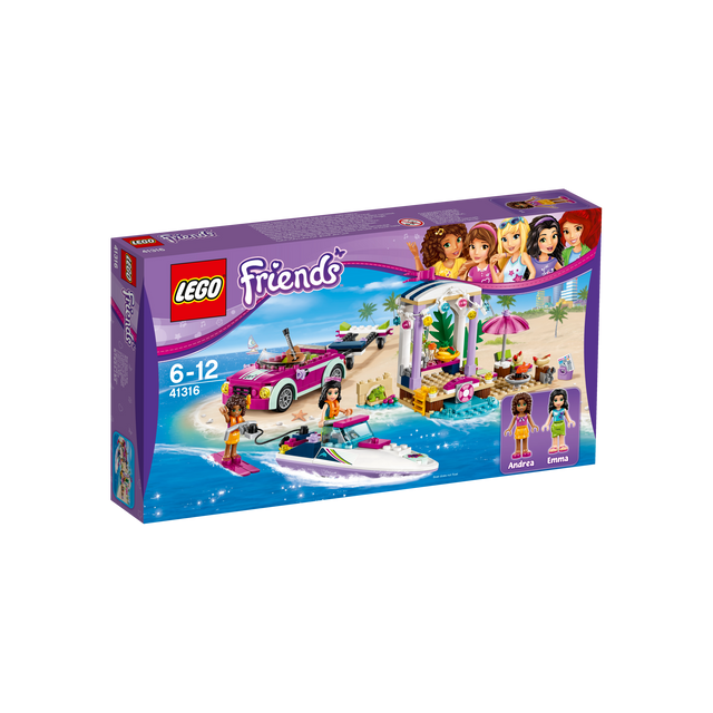 lego friends le transporteur de hors bord d andr a 41316 pas cher achat vente lego. Black Bedroom Furniture Sets. Home Design Ideas
