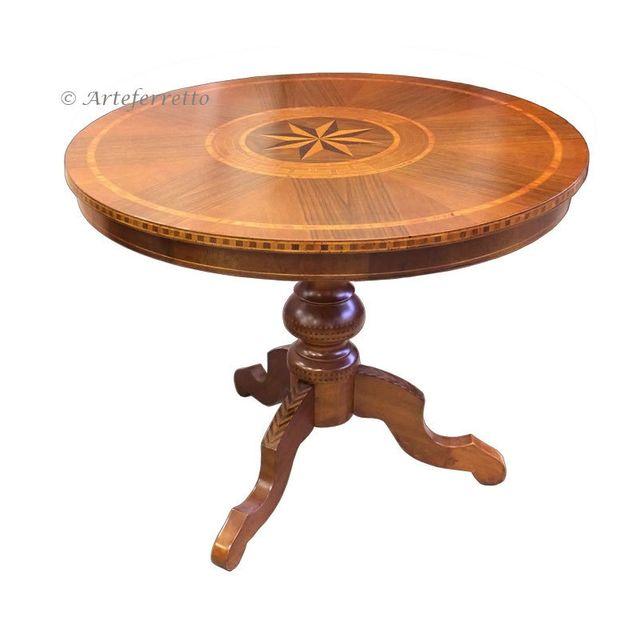 Artigiani Veneti Riuniti Table ronde fixe marquetée 90 cm