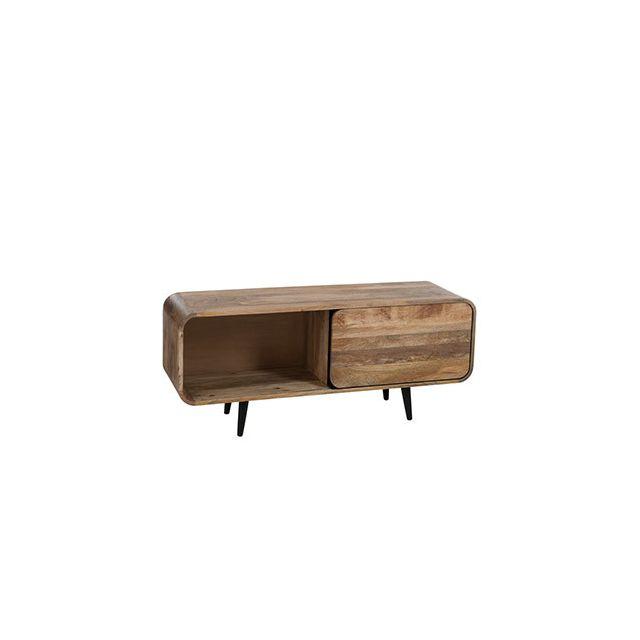 Meuble Tv 1porte 120x35x50cm en bois naturel