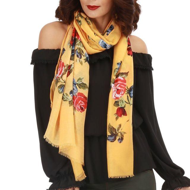 a3150975b64b Lamodeuse - Foulard jaune roses imprimées - pas cher Achat   Vente ...