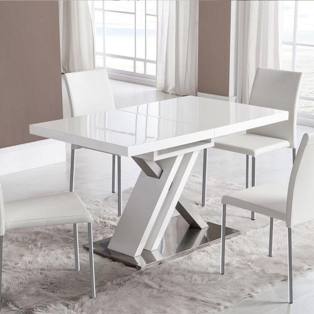 Nouvomeuble Table Extensible Laquee Blanche Design Montana Pas