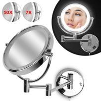 Aquamarin - Miroir cosmétique grossissant avec éclairage Led zoom 10x