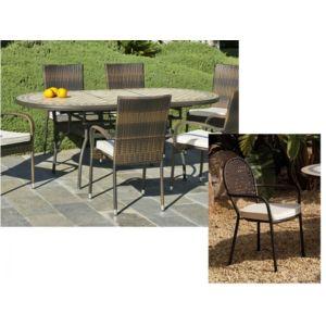 d co maison mobilier de jardin ensemble table ovale 6 fauteuils 150 200 cm casino belfast. Black Bedroom Furniture Sets. Home Design Ideas