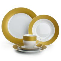 Yong - Service de table 30 pièces en porcelaine bords couleur Twirl - Gold