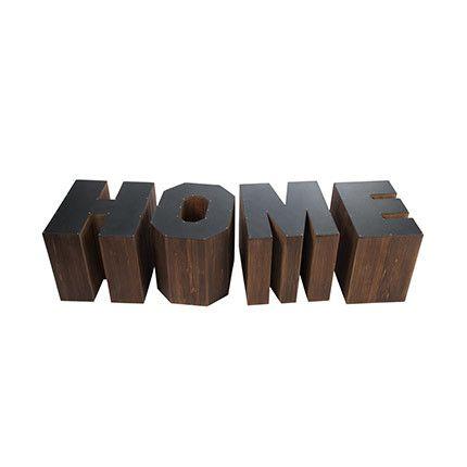 Set de 4 tables gigogne Home en bois marron et noir