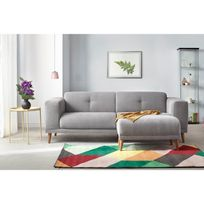 BOBOCHIC - Canapé LUNA avec Pouf - Style Scandinave - Gris Clair - 93cm x 77cm x 225cm