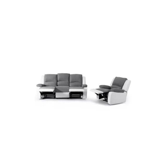Sans Marque Relax Ensemble Canape Relaxation 3 Places + Fauteuil - Tissu Gris Et Simili Blanc - Contemporain - L 190 X P 93 Cm + L 8