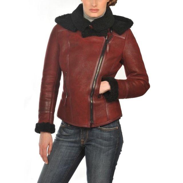 Arturo - Blouson cuir peau lainée mouton retourné Couleur - rouge, Taille  Femme - 44 de5660d87910