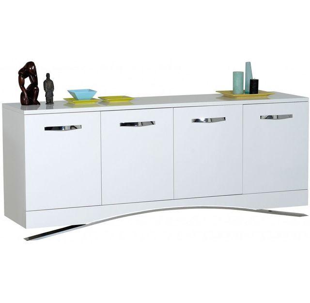 COMFORIUM - Bahut à 4 portes design blanc laqué Marie - pas cher ... 08f75e20fb6d
