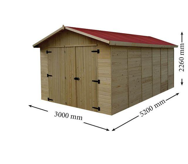 habrita oslo garage en bois 15 60 m 16mm pas. Black Bedroom Furniture Sets. Home Design Ideas