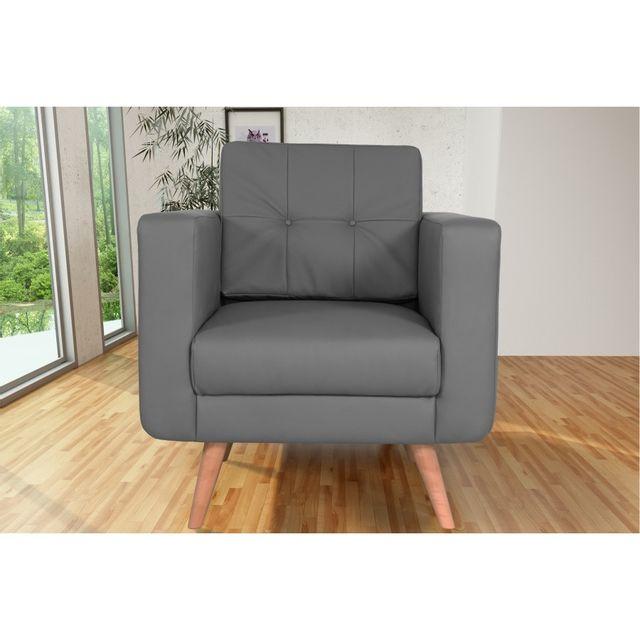Rocambolesk Canapé fixe Hedvig 1 Pu Soft 29 Gris sofa divan