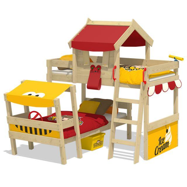 WICKEY Lit superposé en bois CrAzY Trunky Lit double pour enfants - 2 places